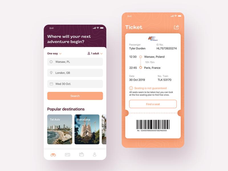 Train App mobile interface app design travel mobile train transport ticket interface app ui design