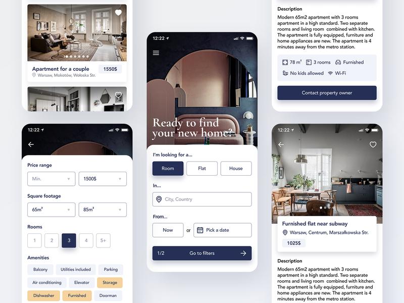 Apartment rental app flat minimal ux real estate app interior interaction user inteface mobile mobile app interface ui graphic design design