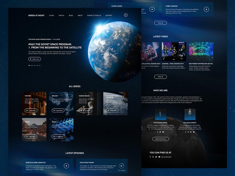 Podcast website dark theme dark ui dark galaxy redesign concept ux desktop user interface podcast space redesign web typography interface ui graphic design design
