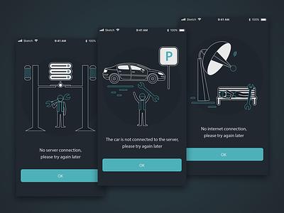 MagnuM Car - Empty states illustration ui clean mobile flat ios design minimal dark simple car app