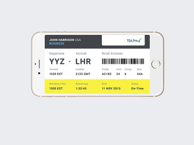 DailyUI Day024 boarding pass flying travel app mobile 024 day024 dailyui