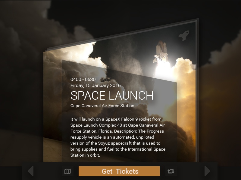 DailyUI Day070 final frontier ticket posting event shuttle liftoff launch space 070 day070 ui dailyui