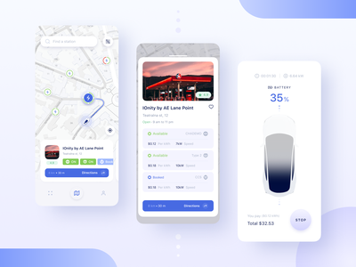 ElectroUA - Charging stations car dashboard ui volt trend tesla stations petrol mobile app future electro electric car ecology concept charging car
