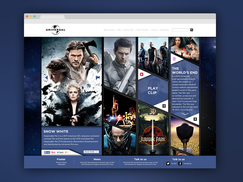 Front Page Concept interface webdesign layout concept universal user interface movie landing purple website psd free