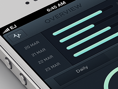 Comb Overview v2 ios real-time analytics dark ui user real time iphone interface slider graph icon overview traffic google 08:00 elliot