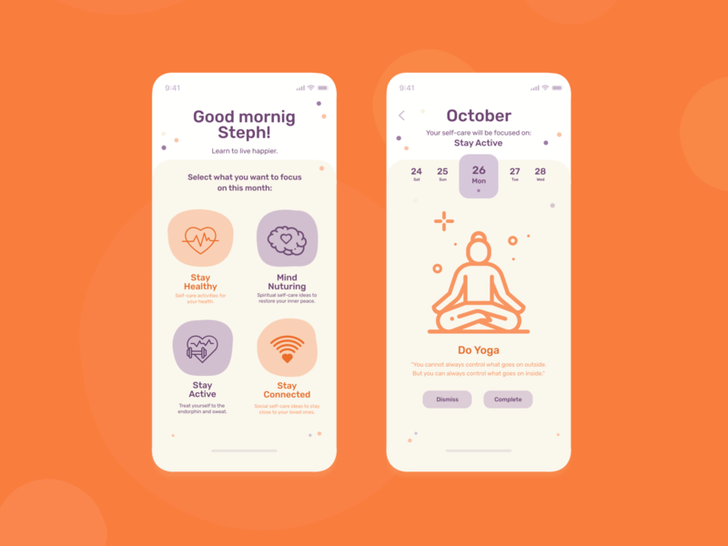 Self Care App Concept ui selfcare mobile ui mobile design app self-care