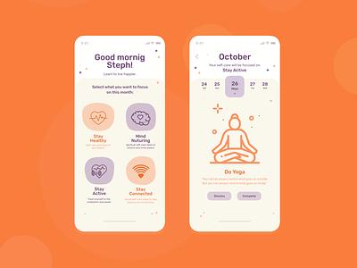 Self Care App Concept ui selfcare mobile ui mobile design app self-care