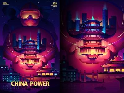 SA9527 - China come on 006 wuhan doctor creative banner china style design illustration icon sa9527