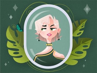 SA9527 - Your Beauty 002 miss girl beauty banner ui style design illustration icon sa9527