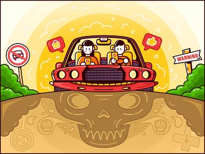 SA9527 - Dangerous Driving sa9527 illustration warning death phone danger driving
