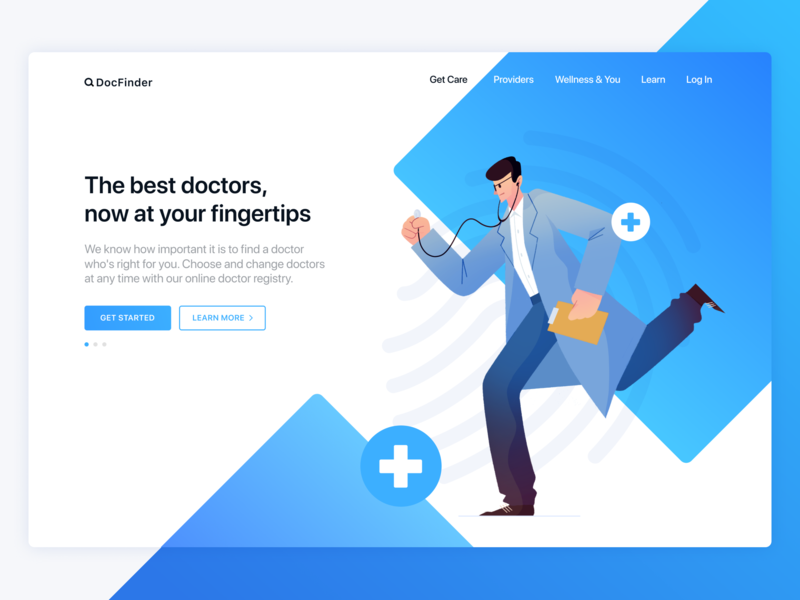 DocFinder mobile doctor appointment web landing medical healthcare doctor illo illustration