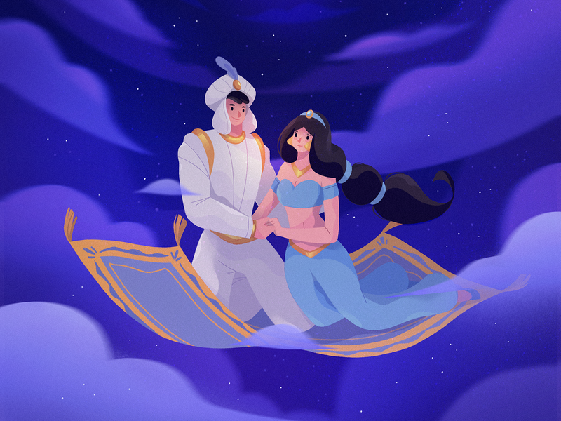 A Whole New World night world sky procreate illustration disney aladdin