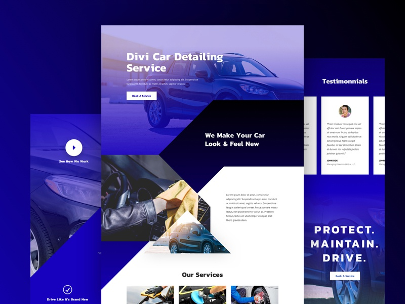 Car Detailing Landing Page Design For Divi car wash car service automobile service car detailing ux ui business corporate homepage website landing page web design divi