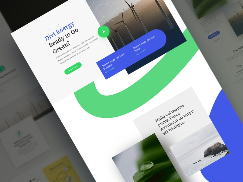 Green Energy Landing Page Design for Divi environment wordpress ux ui nonprofit natural nature environmental green green energy design homepage business web design divi website landing page