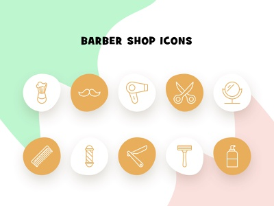 Barber Shop Icon Set freebie logo illustraion shop barbershop barber iconography icon set icon icon design divi theme divi