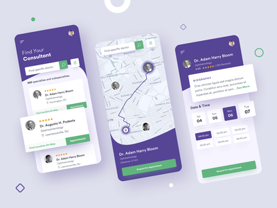 Medical Mobile App - Doctor Appointment Scheduling clinic telemedicine appointment consultation health healthcare scheduling booking medical android ios mobile application app design ux ui