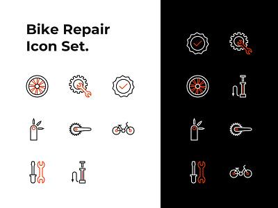 Bike Repair Service Line Icons ux ui stroke icons line art shop service vector branding logo design bike bicycle illustraion icons icon design iconography icon set icon