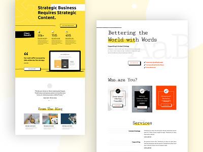 Freelance Writer Landing Page Design for Divi portfolio typography blog blogging blogger author freelancer writer agency design homepage business web design ux ui divi landing page website