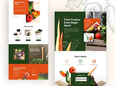 Produce Box Landing Page Design organic shop food organic food firm farmer produce shop design homepage business web design ux ui divi landing page website