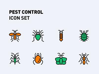 Pest Control Icon Set design icons icon set iconography illustration icon design icon bugs insects pest pest control pest management branding logo graphic design