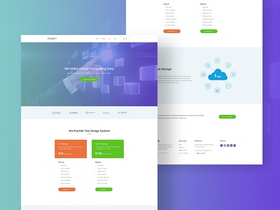 Landing Page for Web Hosting Company icloud illustration web design hosting company landing page hosting cloud storage hosting company website landing page