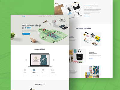 Shirt.ly - Landing Page Redesign hero section testimonial how it works marketplace concept design website ux ui web design landing page redesign