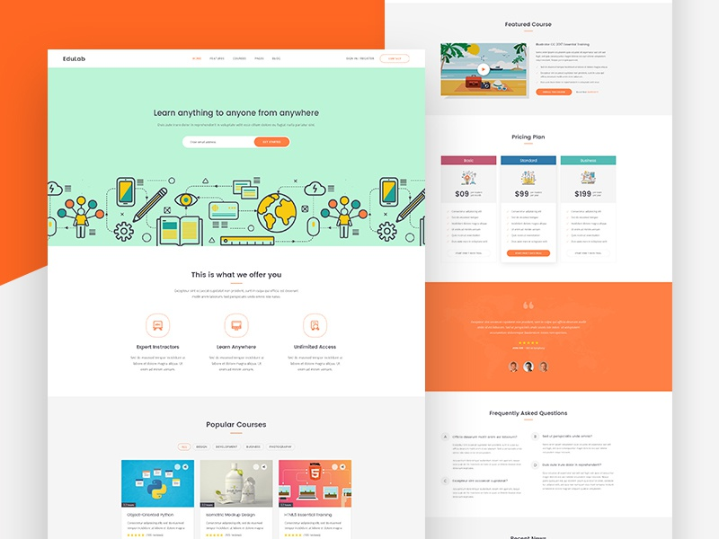 Education website template homepage design