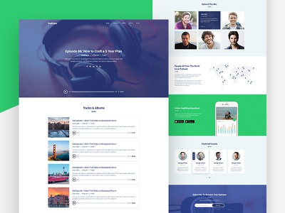 Online Radio or Podcast Website Template minimal landing page ux ui web design soundcloud player radio online radio website podcast