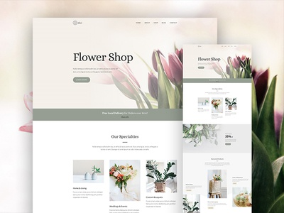 Florist Website Layout Pack for Divi graden flower shop online store store shop ecommerce landing page: website flower florist