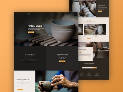 Pottery Studio Website Landing Page Design for Divi course homepage online training agency studio art studio art landing page web design website pottery studio pottery