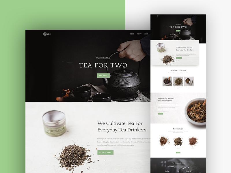 Tea shop landing page
