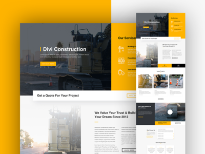 Construction Company Landing Page Design web design landing page industry engineering corporate contractor construction company business building architecture