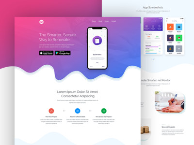 App Landing Page Design service saas landing page ux ui homepage design app landing template design website ios android app landing page