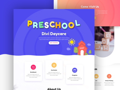 Day Care Landing Page For Divi theme elegant education landing page kids elementary pre school school day care web design divi website