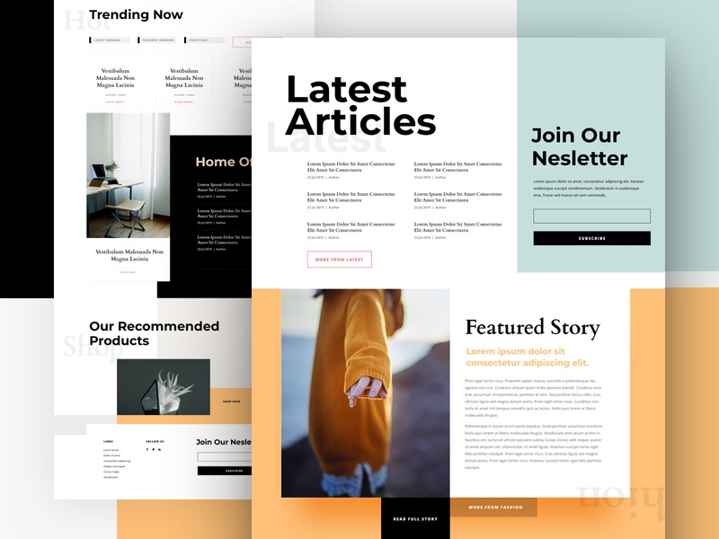 Lifestyle Magazine Landing Page Design For Divi news landing page home page publication design website blog lifestyle divi ux ui design magazine