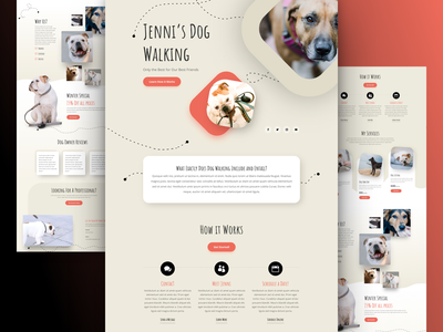 Dog Walker Landing Page Design for Divi pet care homepage ux ui web design landing page design divi website dog lover dog dog walker