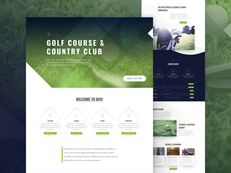Golf Course Landing Page Design for Divi ui trainer training course games sports golf club golf design homepage web design divi landing page website