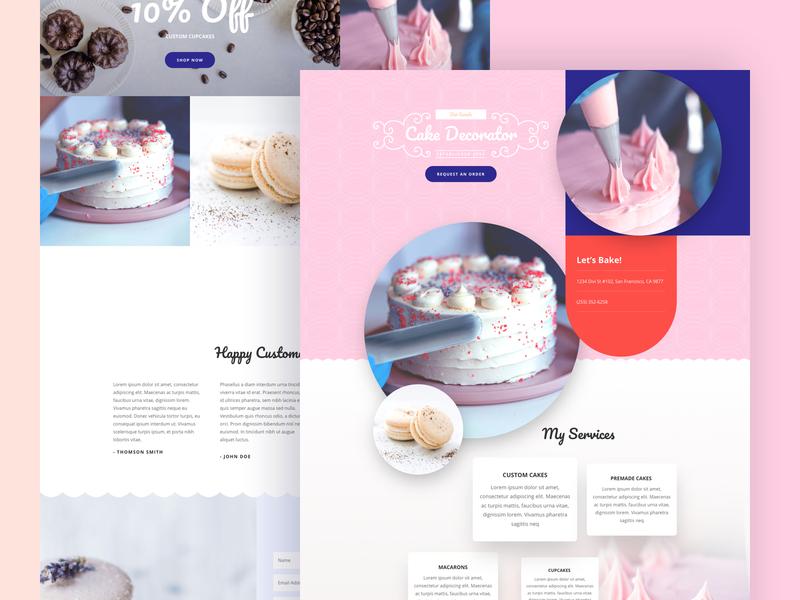Cake Maker Landing Page Design for Divi wordpress temple ux ui design cake cake shop cake maker ecommerce online store shop homepage business web design website landing page divi