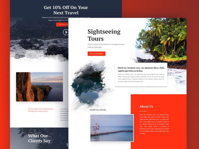 Sightseeing Landing Page Design for Divi ux ui business theme blog tour agency travel sightseeing homepage web design divi landing page website
