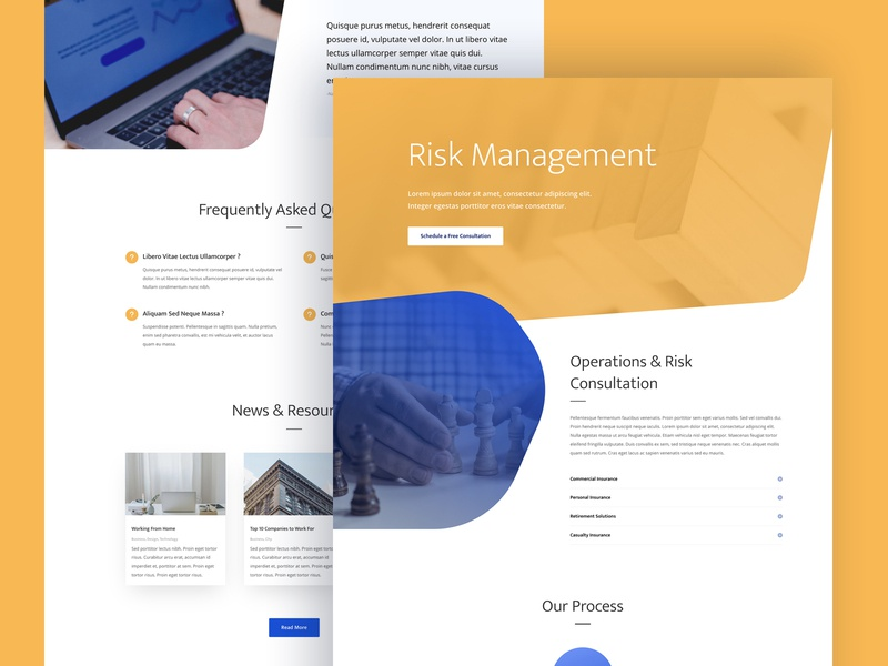 Risk Management Landing Page Design for Divi consultancy insurance finance risk management theme wordpress corporate agency homepage business web design divi landing page website