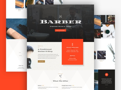Barber Shop Landing Page Design for Divi