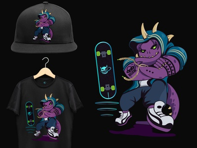 Space Monster illustration street city urban skate concept dino monster space character cloth