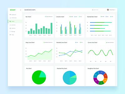 Datasoft Dashboard Charts radar chart flow chart line chart column chart stacked bar chart bar chart pie chart curve chart charts dashboard