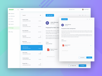 DataSoft Mail webdesign web ux ui minimalistic minimal messages mail inbox e-mail dashboard