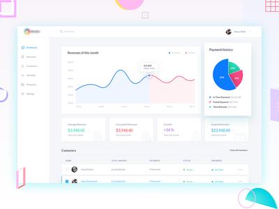 Revenue Analytics ux ui minimal list revenue graph designer dashboard clean chart