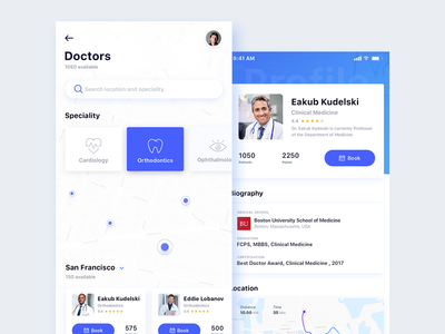 Healthcare App interface experience user profile health medical iphonex search emergency doctor