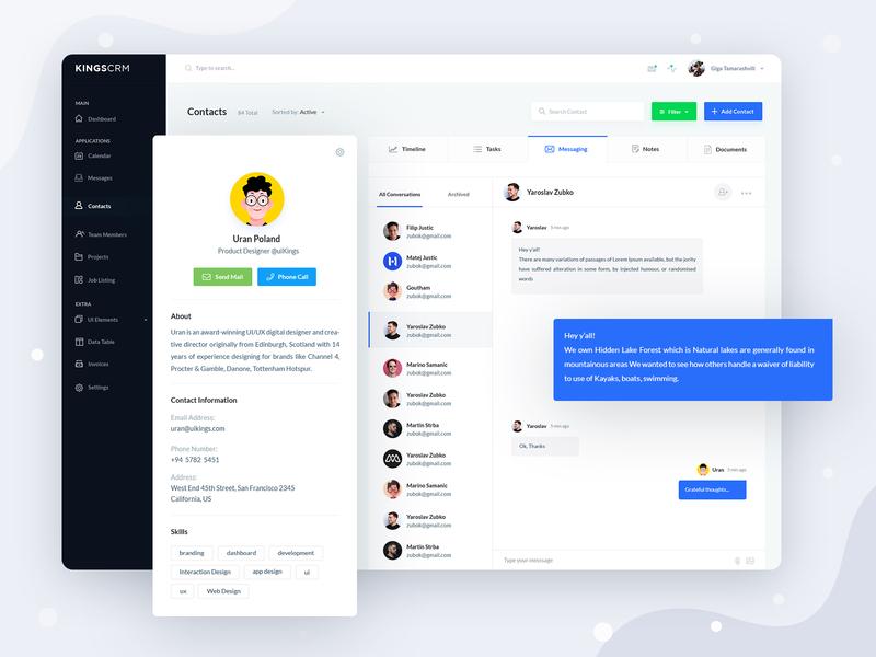 KingsCRM Web Application message chat ui admin profile dashboard