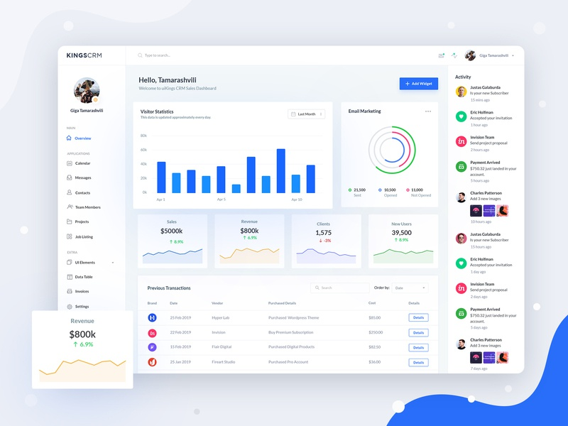 KingsCRM Web Application Home V3 ui  ux pie chart widgets statistics activity chart listing table dashboard analytics