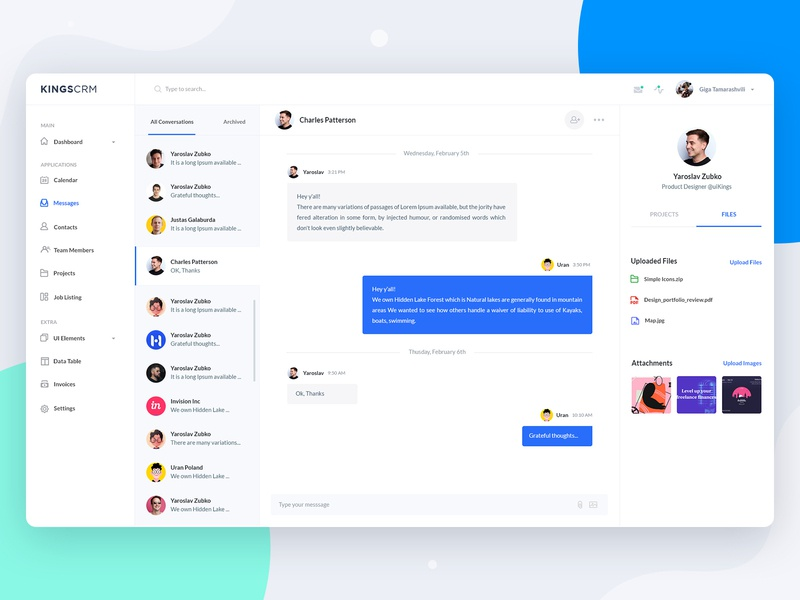 Chat/Messenger - Web App messages web app inbox profile messaenger dashboard chat