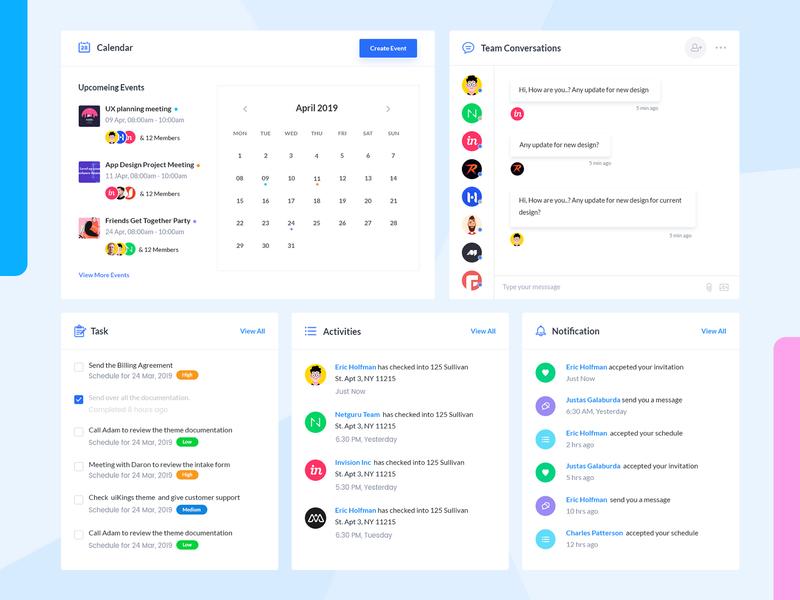 Free Dashboard UI Kit widgets dashboard card uikit activities notification task chat calendar freebie dashboard